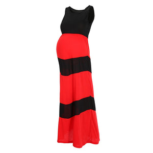 Black Colorblock Chevron Accent Maternity Maxi Dress
