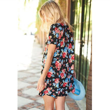 Floral Printed Short Sleeve Mini Dress With Cross Over Detail