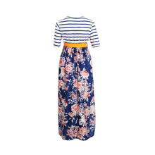 Striped Colorblock Floral Maternity Maxi Dress