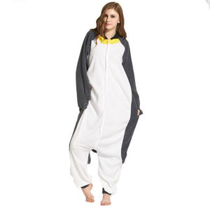 Gray Penguin Onesie Union Suit Pajama