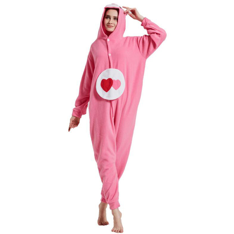 Heart Bear Onesie Union Suit Pajama