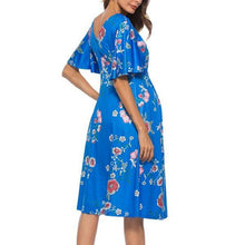Blue Floral Sleeveless Knot Front Maternity Maxi Dress