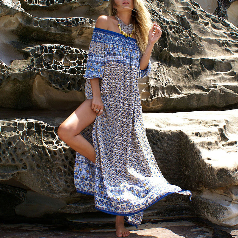 Ethnic Print Half Sleeve Split Bohemian Maxi Beach Dress