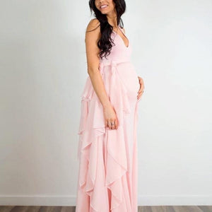 Photoshoot Gown With Chiffon Waves