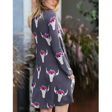 Bull Skull Rose Printed Raglans Casual Long Sleeve With Pocket Loose Dress
