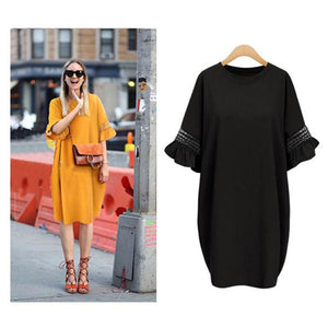 Loose Knee-Length Half Sleeve Flare Sleeve Casual Dress