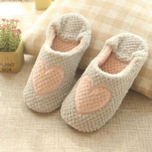Gray Heart Plush Slipper