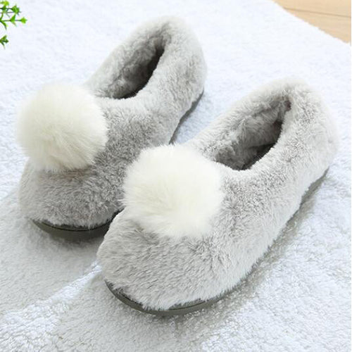 Gray Rabbit Tail Furry Slippers