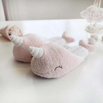 Cute Narwhal Plush Slippers