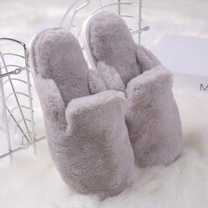Gray Plush Slippers