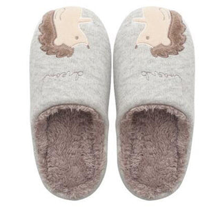 Gray Hedgehog Warm Slippers