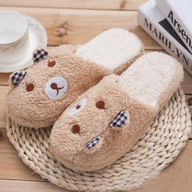 Bear Lovely Warm Slippers In Coffee