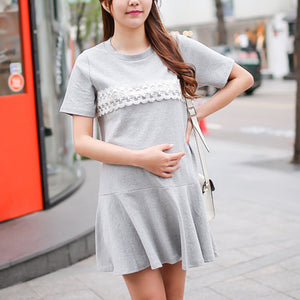Round Collar And Lace Maternity Dress