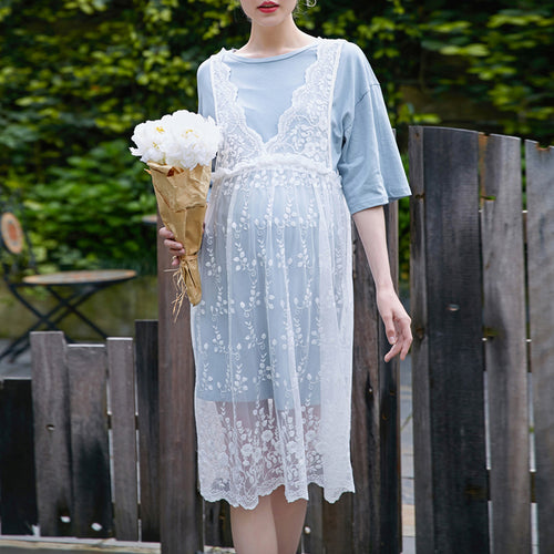 Lace Hollowed Out Two Pieces Of High Waist Maternity Dress