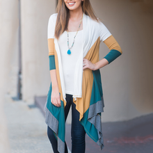 Collarless Colouring Long Sleeve Cardigans