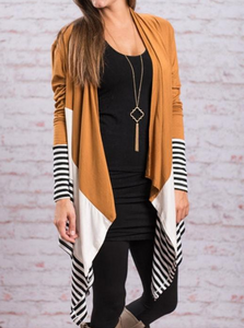 Collarless  Plain Striped  Long Sleeve Cardigans