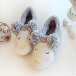 Gray Penguin Plush Slipper