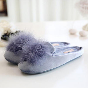 Furry Slippers In Dark Blue