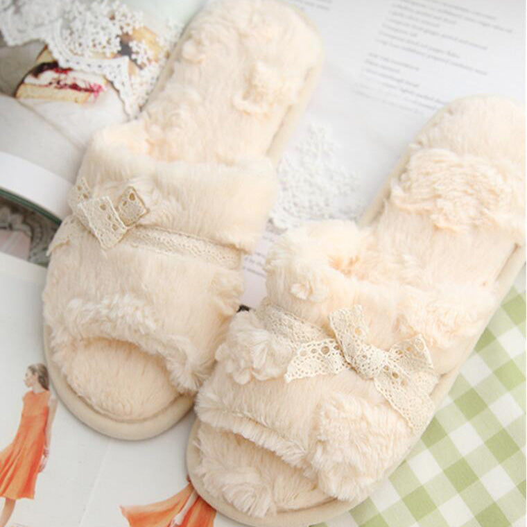 Bow Knot Plush Slippers