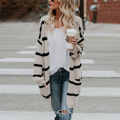 Stripe Knitted Loose Sweater Cardigan