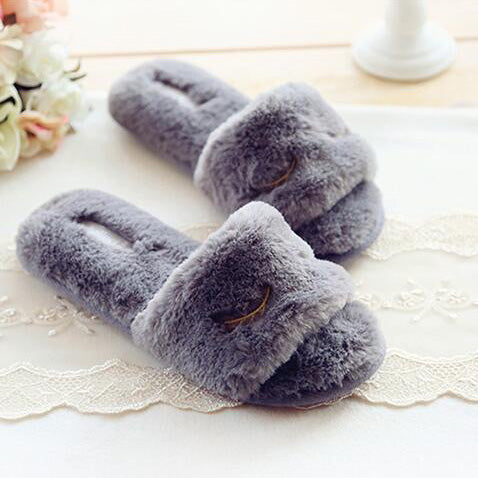 Smile Face Furry Slippers In Gray