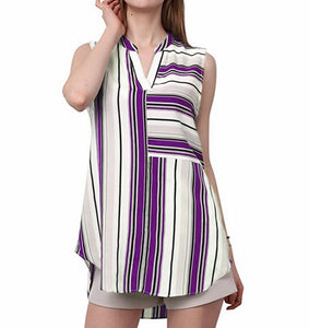Maternity Casual V-Neck Stripes Sleeveless Blouse