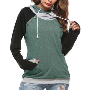 Drawstring Splicing Color-Blocking Sweater Hoodies