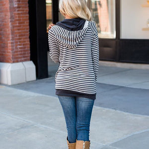 Chic Hooded Striped Patchwork With Kangaroo Pocket Hoodie