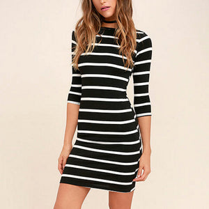 Long Sleeves Stripe Sexy Bodycon Dress