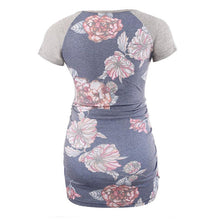 Flower Digital Printing Circular Collar Short Sleeve Maternity  T - Shirt