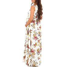 Digital Printing Circular Collar Sleeveless High Waist Skirt Maternity Long Dress