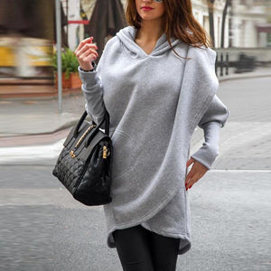 Fashion Asymmetrical Hem Hooded Long Sleeve Hoodies