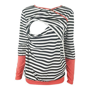 Circular Collar Open Nurse Stripe Splicing Mommy T-Shirt