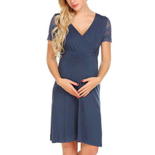 Lace Short Sleeve Splicing Maternity Dress