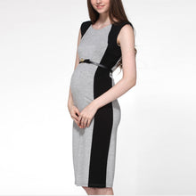 Bodycon Color Block Sleeveless Maternity Dress
