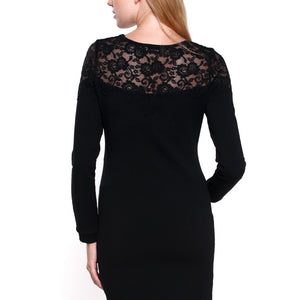 Black Lace Long Sleeves Maternity Bodycon Dress