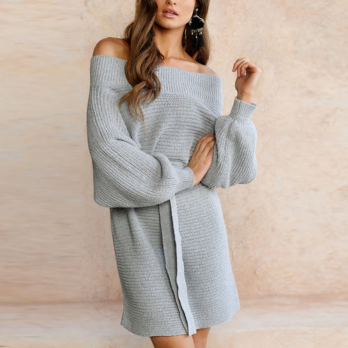 Sexy Off Shoulder Knit Mini Dress