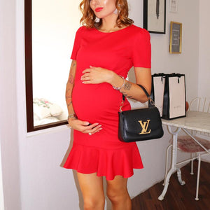 Maternity Solid Color Matching Skater Dress
