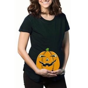 Halloween Pumpkin Print Maternity T-Shirt