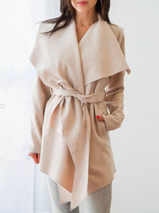 Asymmetric Neck Belt Plain Long Sleeve Trench Coats