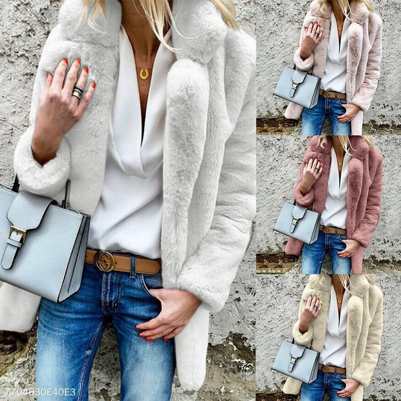 Lapel Long Sleeve Plain Fur Coat