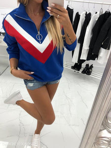 Zipper Color Blocking Pullover Sweatershirt