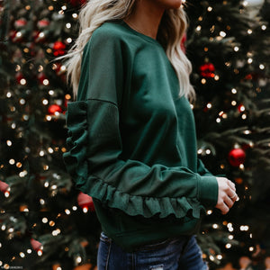Casual Round Neck Flounce Long Sleeve Sweatershirts