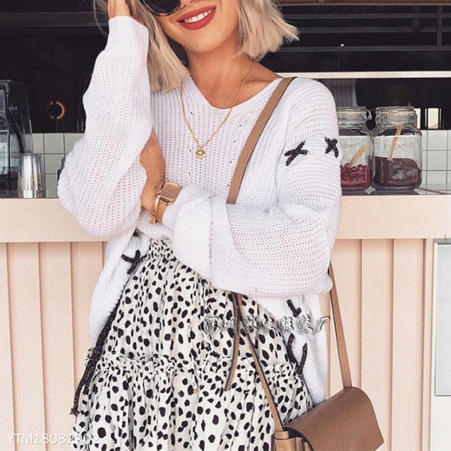 White Long Sleeve Loose Sweater
