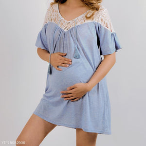 Maternity Drawstring Lace Patchwork Dress