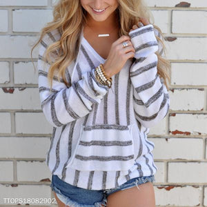 Casual Striped Hooded Long Sleeve Sweater