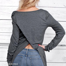 Grey Long Sleeve Off-The-Shoulder Sweatershirts