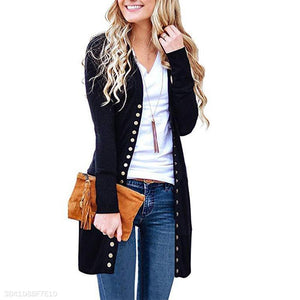 Long Sleeve Plain Button Knitting Casual Cardigans