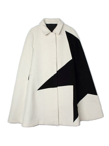 Fold-Over Collar  Zips  Colouring  Cape Sleeve Coats