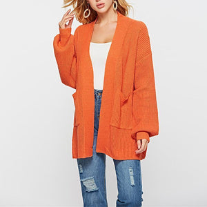 Fashion Lantern Long Sleeve Pocket Plain Cardigans